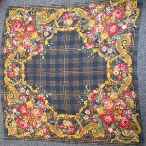 Ralph Lauren Silk Floral Scarf w/ Plaid Background